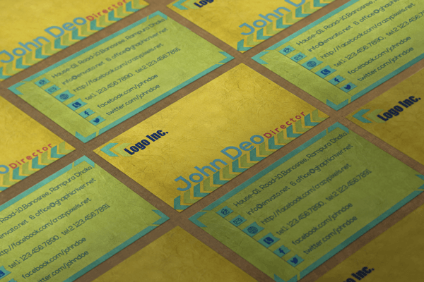 Creative FREE Business Card Template Yellowish Combination