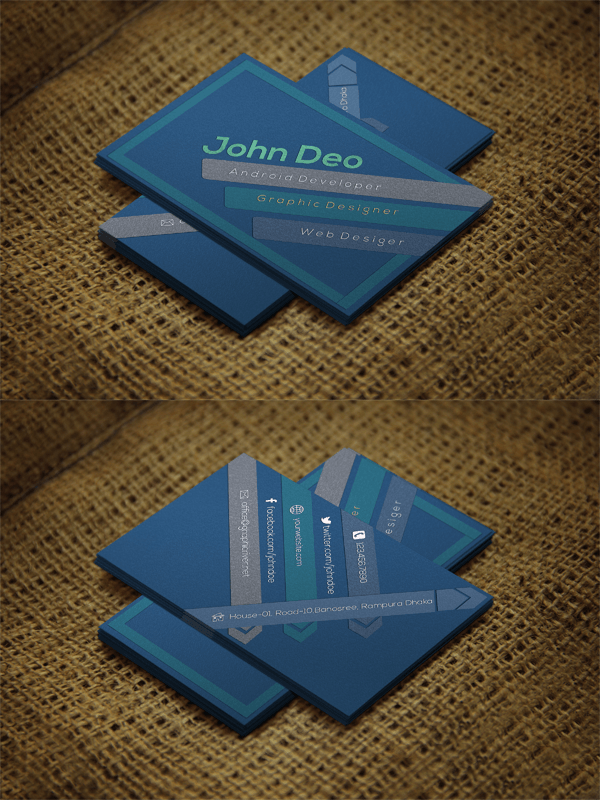 Free Bluish Business Card Psd template