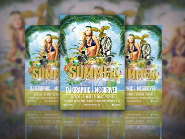 Summer party free flyer psd templates download free flyer psd templates flyer download saigontimesfo