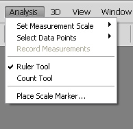 Analysis Menus Adobe photoshop