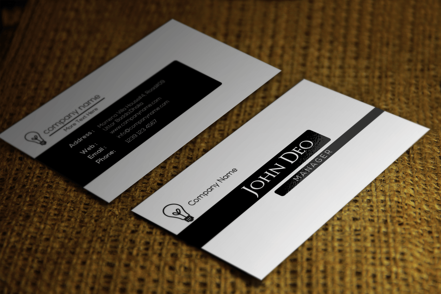 Free black and white business card template for Business card template black