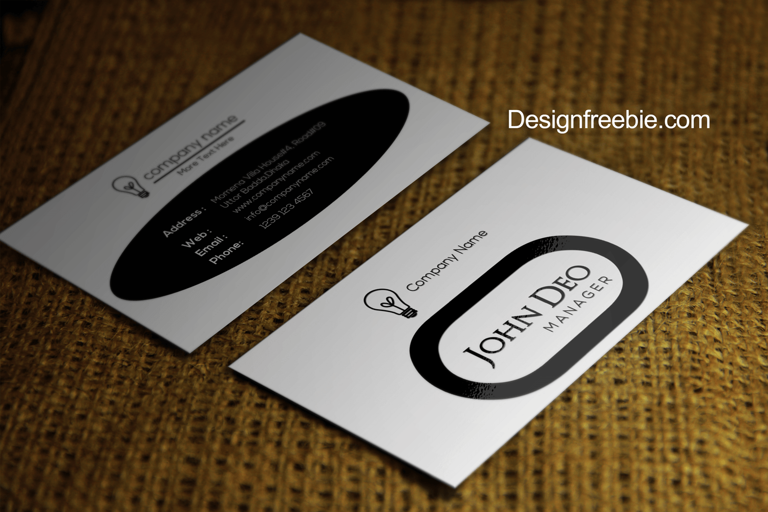 Black And White Free Business Card Template PSD - Round business card template