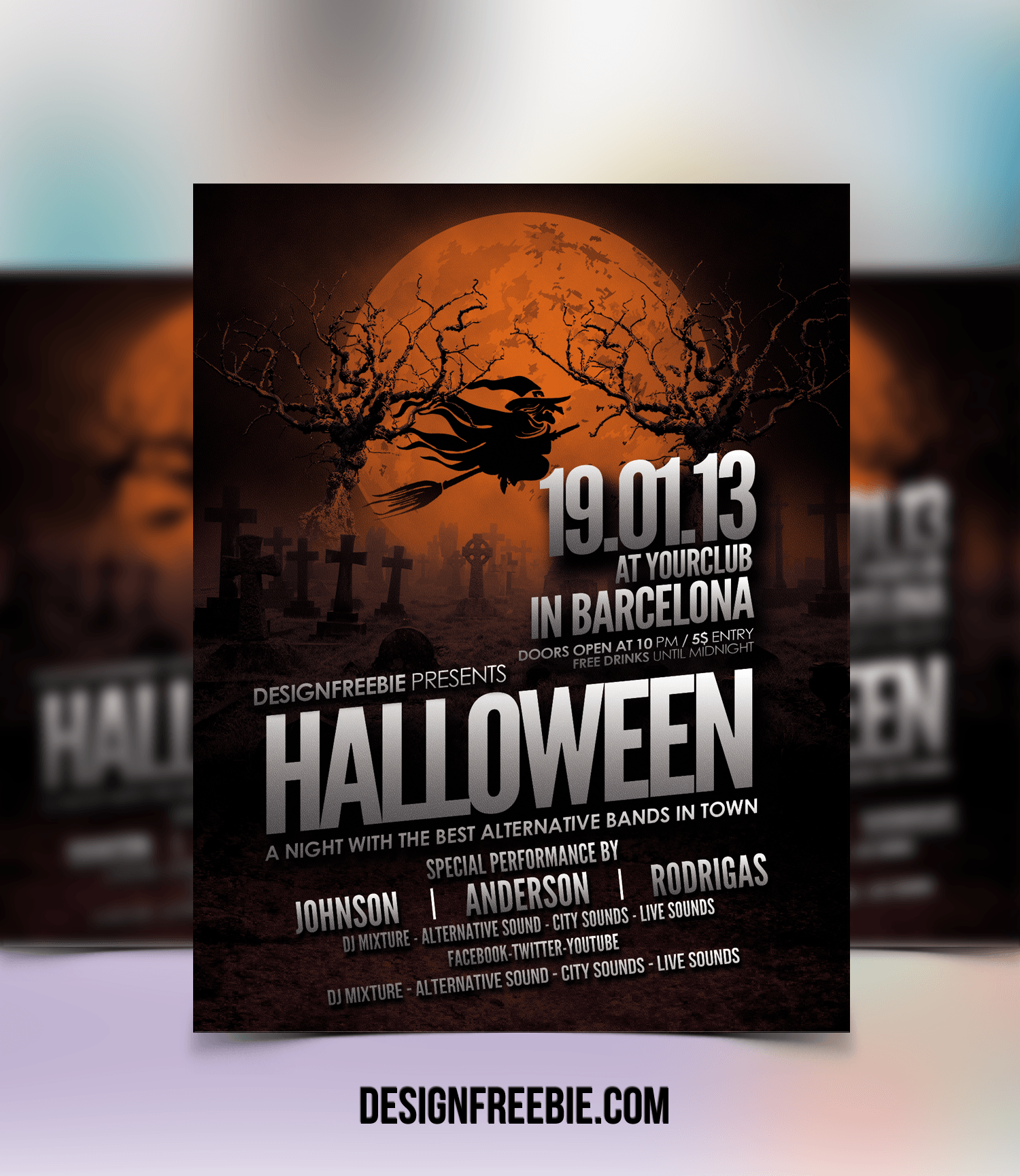 Free halloween party flyer template download halloween flyer psd template saigontimesfo