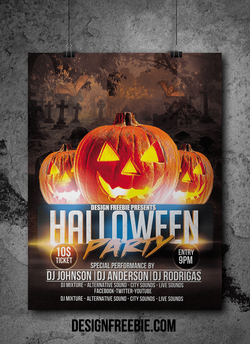 Download this free halloween party flyer template for Free halloween flyer templates