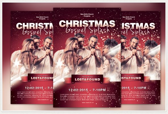 Christmas Gospel Splash Church Flyer