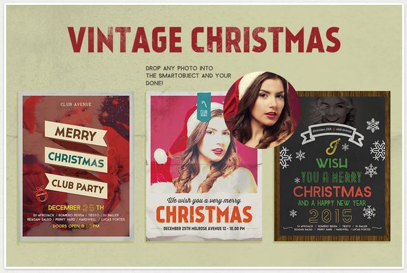 3 Christmas Flyers, Posters Vintage