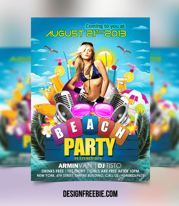 FREE BEACH PARTY FLYER PSD TEMPLATE Download – Beach Party Flyer Template