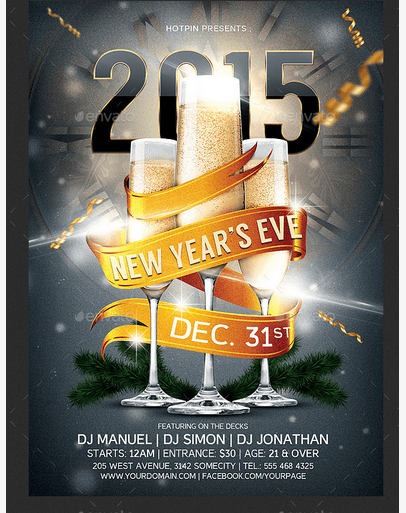 50 Super Cool New Year Party Flyer Templates Design Freebie – New Year Poster Template