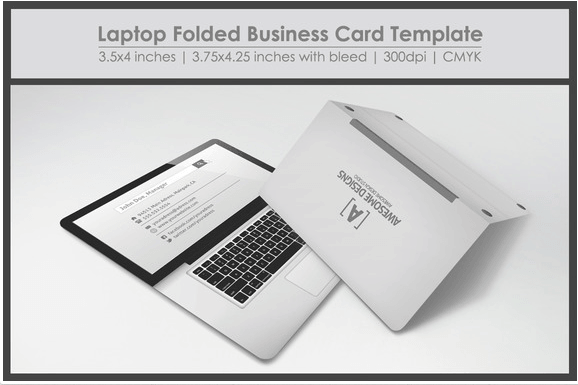 Laptop folded Business card Design template