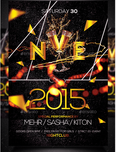Happy New Year Flyer Template PSD