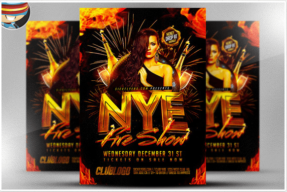NYE Fireshow Flyer Template
