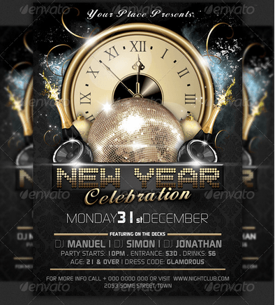 new years eve party flyer template