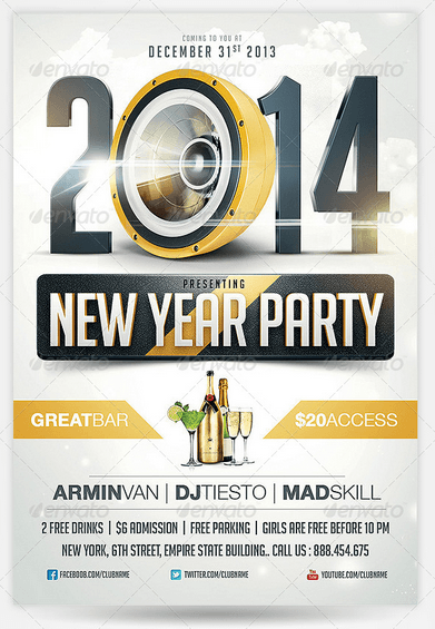 50 Super Cool New Year Party Flyer Templates - Design Freebie