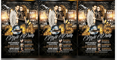 New Year Eve or Elegance Party Flyer psd