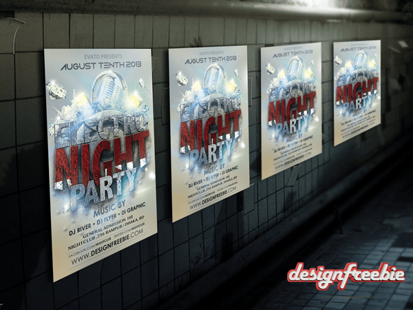 Cool free Flyer Template Psd Electro Bass Event