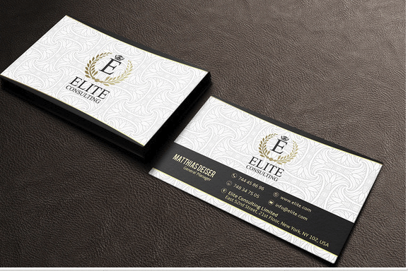 Gold and White Business Card Design Template
