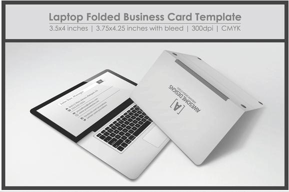Laptop folded Business card Design template