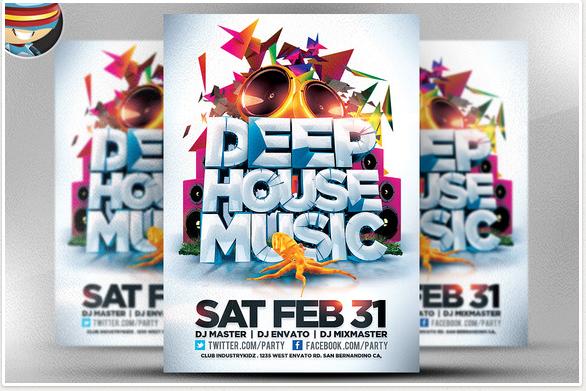 Deep House Music Flyer Template