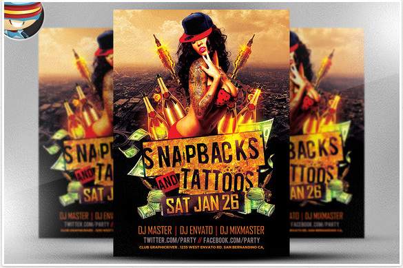 Snapbacks and Tattoos Flyer Template