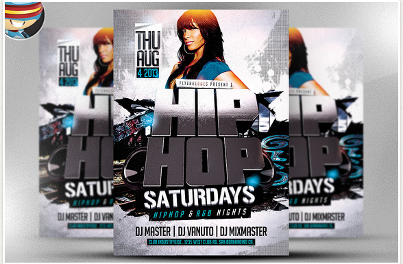 3D Hip Hop PSD Flyer Template