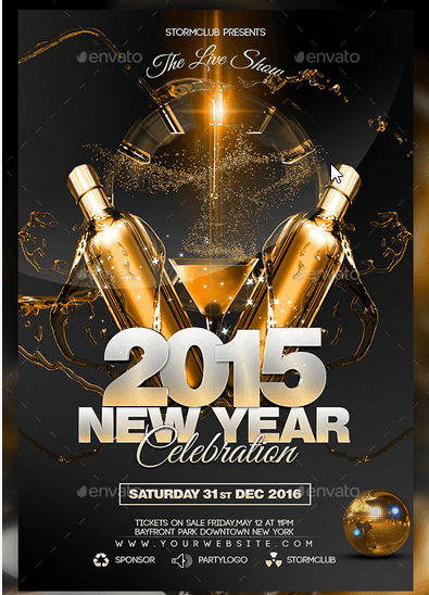New Year Disco Flyer psd